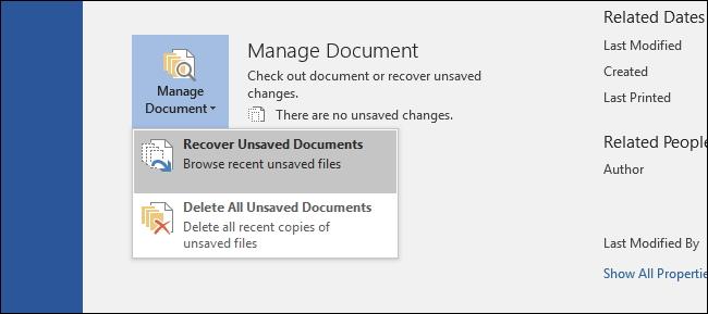 恢复未保存的文件