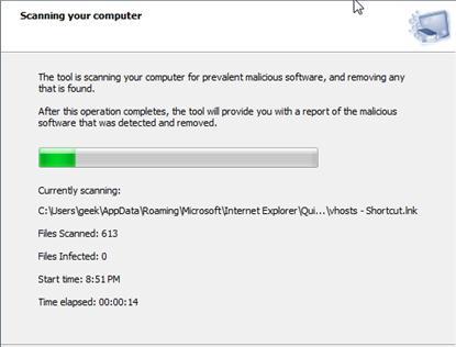 扫描以从您的计算机中删除恶意软件和病毒