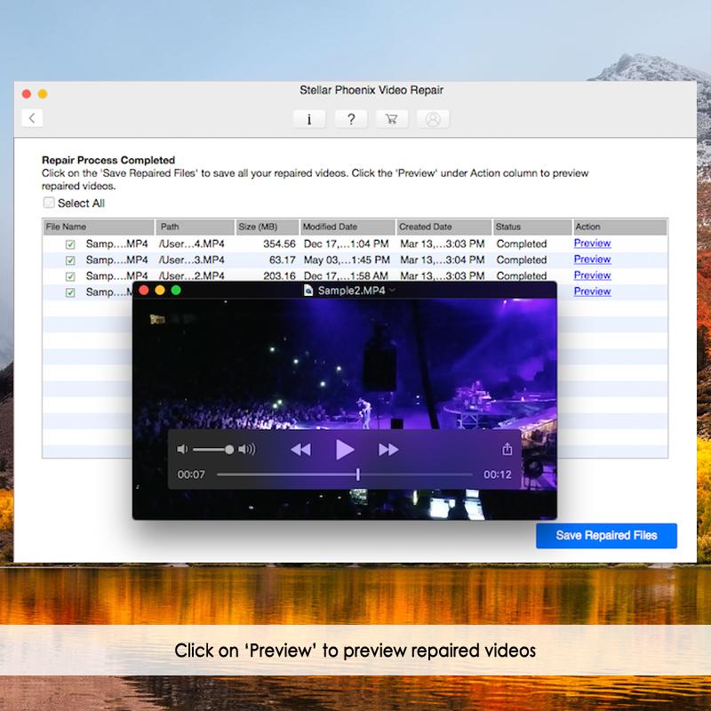 预览mac上修复的视频文件