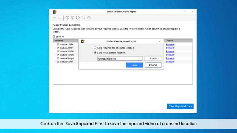 保存修复的视频文件