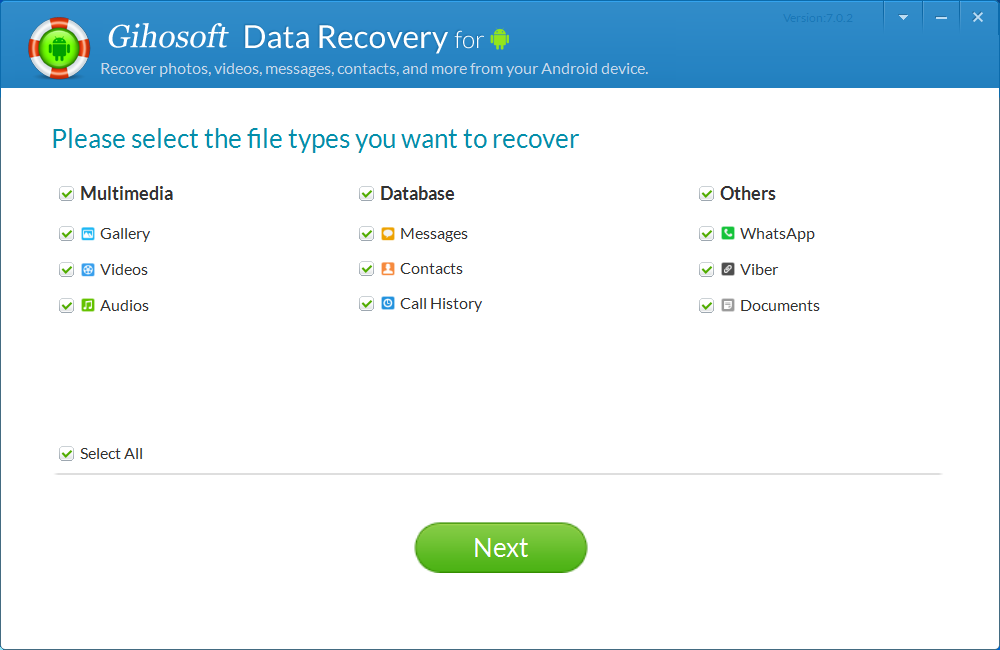 gihosoft免费android数据恢复