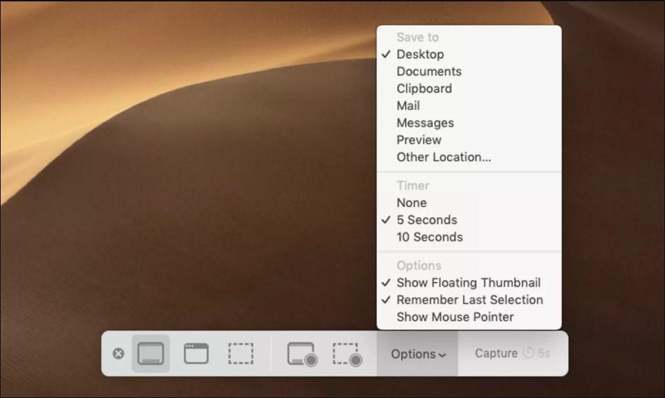 在Mac上保存屏幕截图