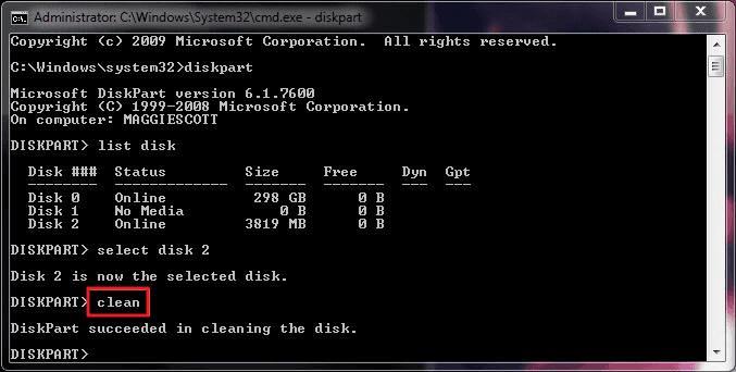 diskpart格式类型清洁到格式化磁盘