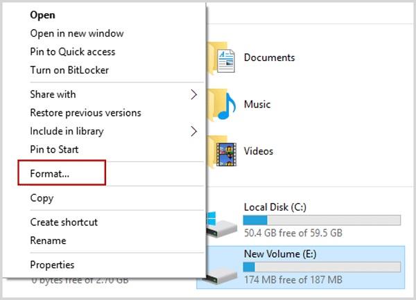Windows资源管理器中的格式分区