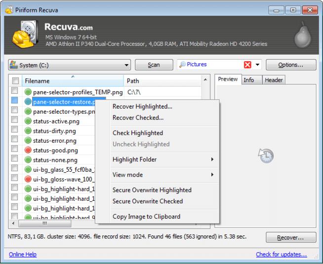 recuva免费的SD卡恢复软件