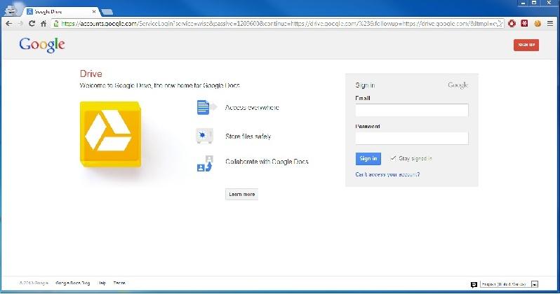 Google云端硬盘登录页面