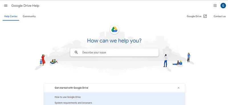 Google云端硬盘帮助页面