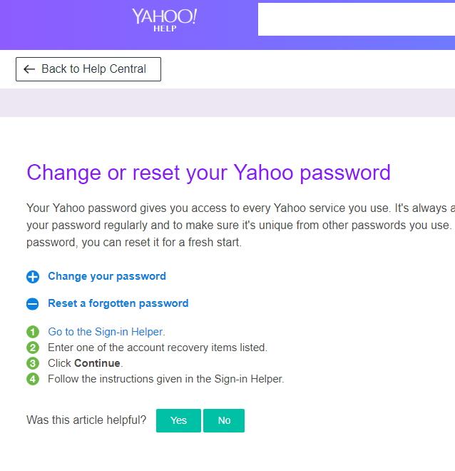 重置雅虎邮件密码