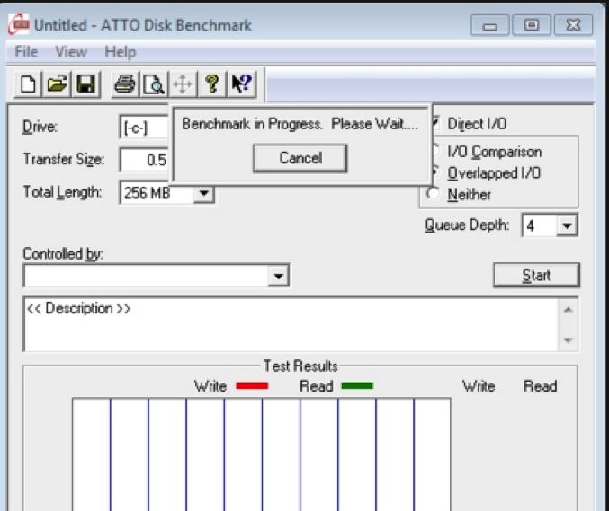 Windows硬盘速度测试的ATTO磁盘基准测试