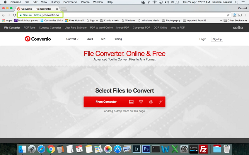 在Mac上将VOB转换为MP4  - 打开convertio