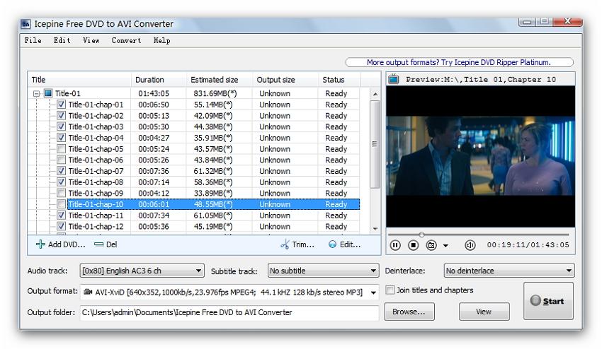 Icepine免费DVD到AVI转换器