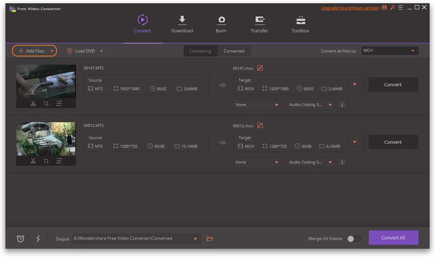 将AVCHD文件添加到免费视频转换器