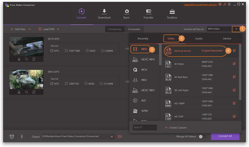 选择输出格式并将AVCHD转换为MP4