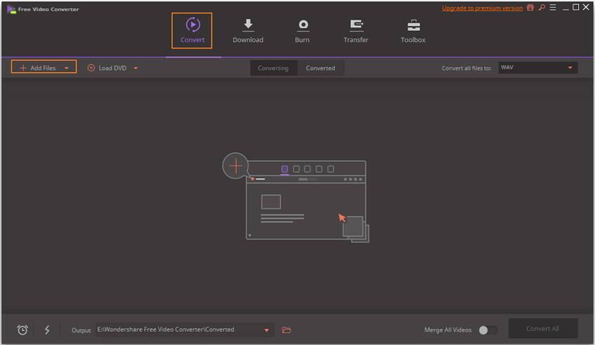 启动免费视频转换器并添加DAT文件