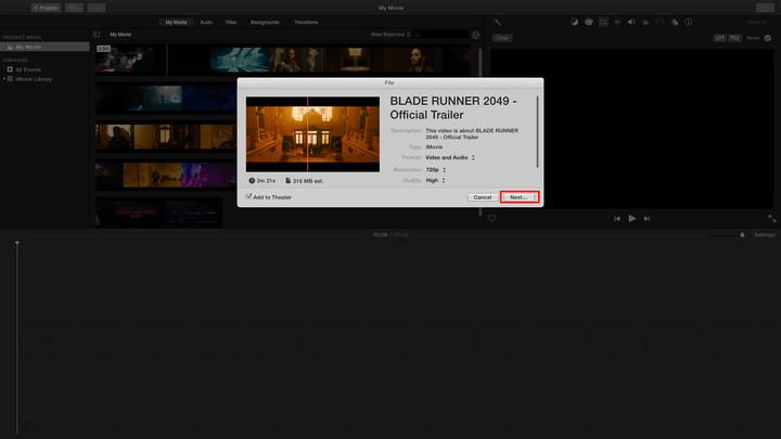 将MOV转换为MP4 iMovie
