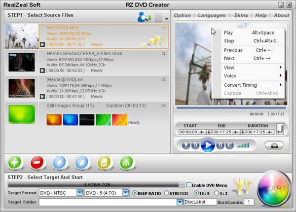 MP4到DVD刻录机 -  RZ DVD Creator