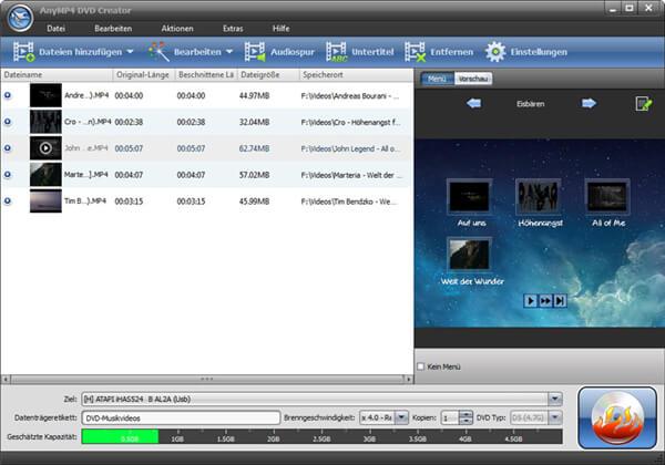 MP4到DVD刻录机 -  AnyMP4